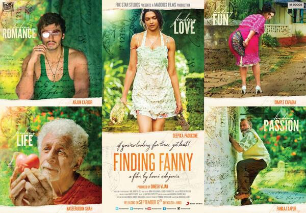 1st official poster of movie FindingFanny released on 8 July 2014 - featuring Deepika Padukone, Arjun Kapoor, Dimple Kapadia, Naseeruddin Shah and Pankaj Kapoor