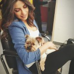 A cute picture of Priyanka Chopra with Li Jun Li puppy