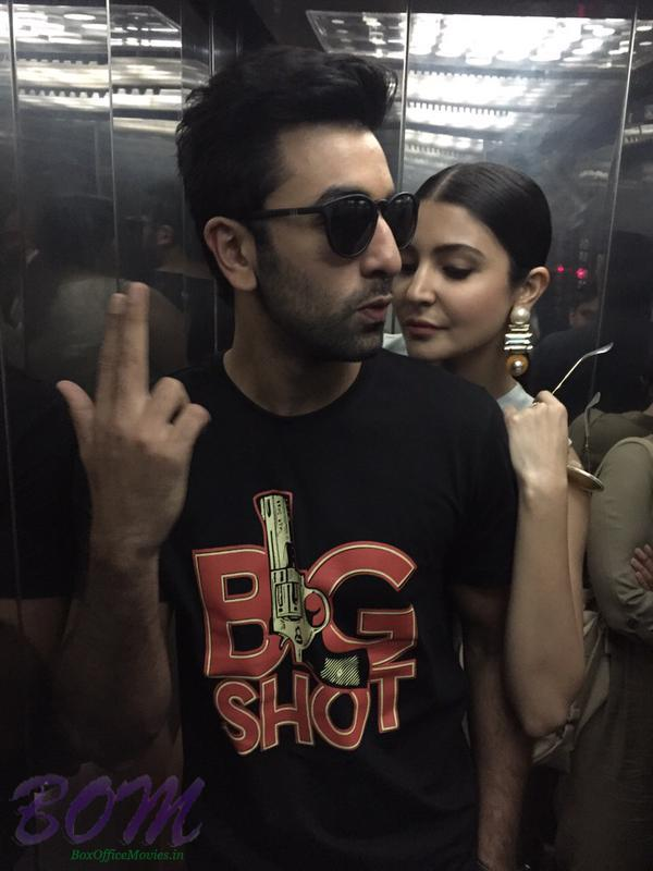 A quirky picture of Ranbir Kapoor and Anushka Sharma in a lift together