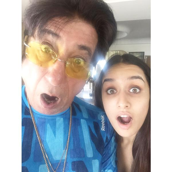 A quirky picture of Shakti Kapoor with Shraddha Kapoor