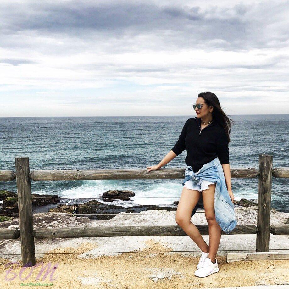 Sonakshi Sinha stylish pose on the sea side