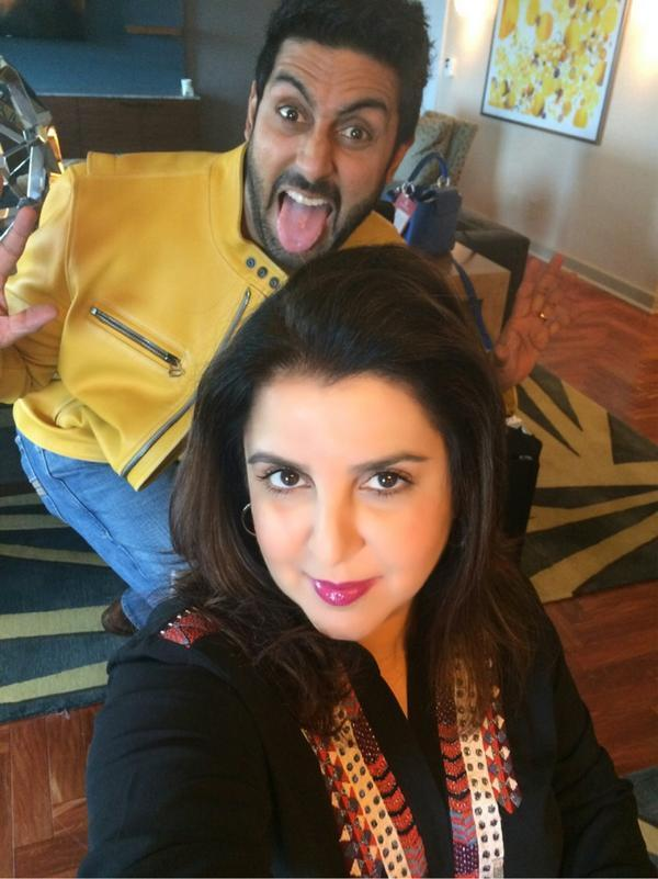 Abhishek Bachchan crazy picture while Frarah Khan getting ready