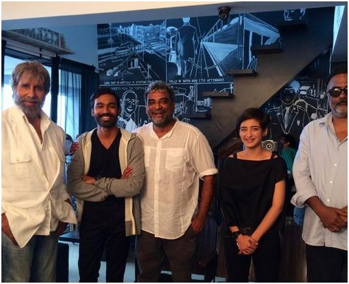 Actor Dhanush celebrating the success of VIP movie Amithabh ji and other team members of Shamitabh movie