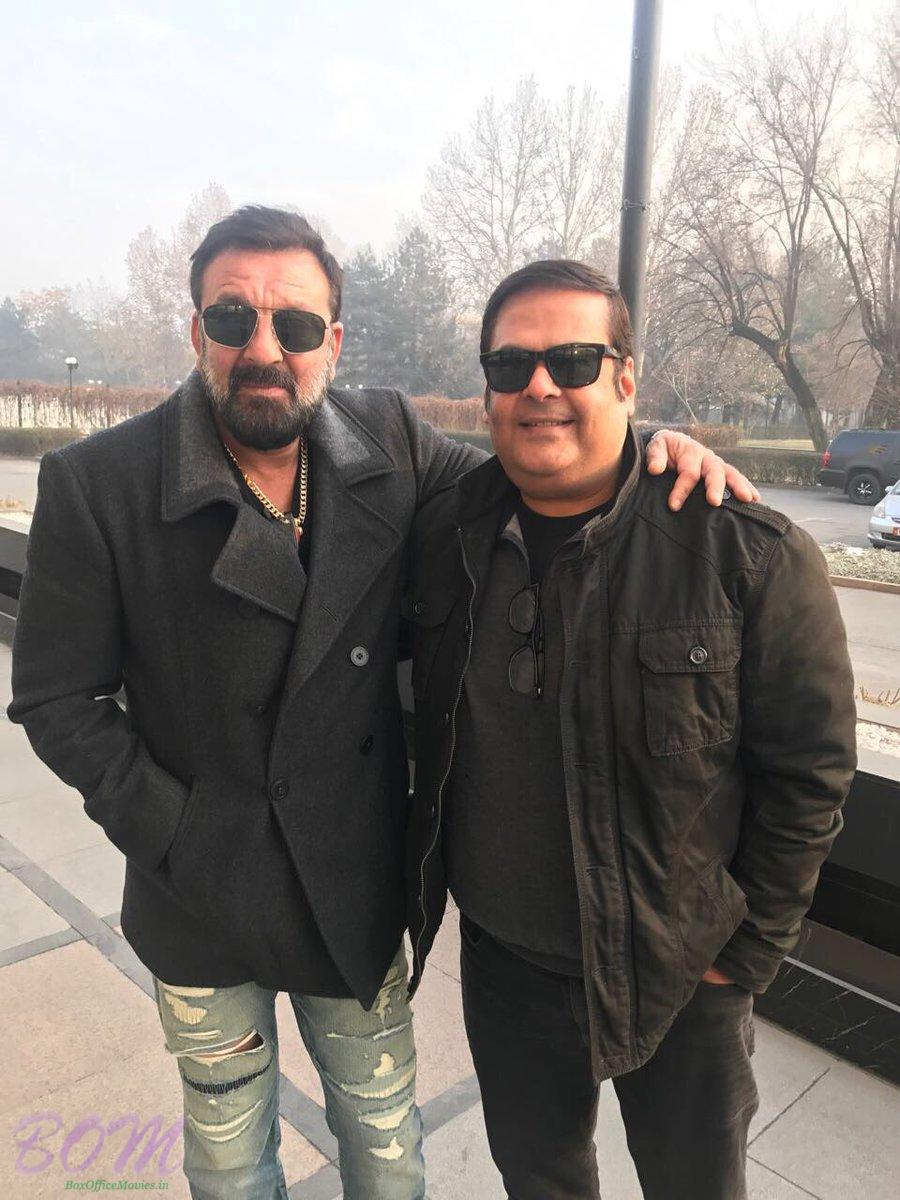 Actor Sanjay Dutt and producer Rahul Mittra on the sets of Torbaaz