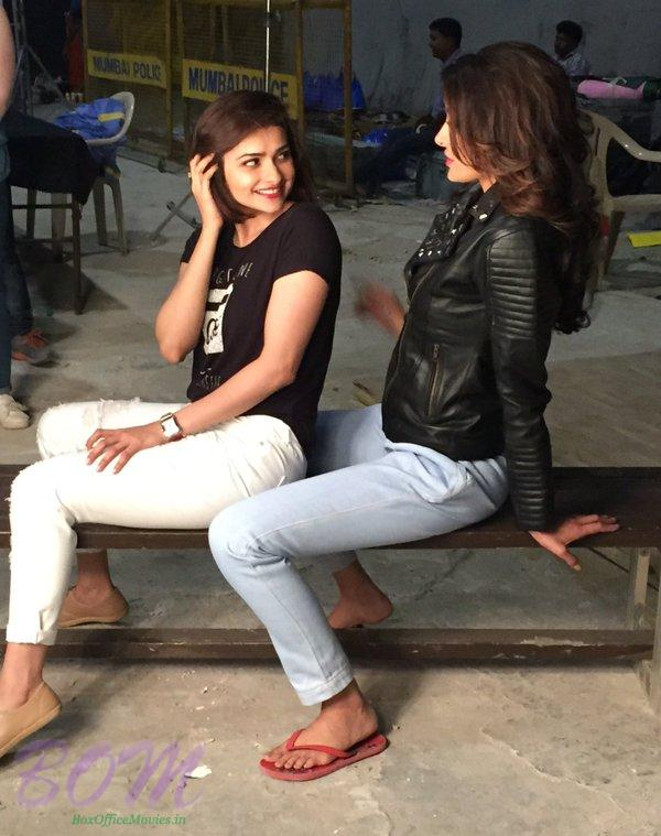 Actress Prachi Desai Nargis Fakhri during Azhar movie shooting