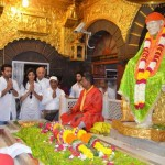 Actress Shilpa Shetty & Raj Kundra during their visit to Shirdi Sai Baba