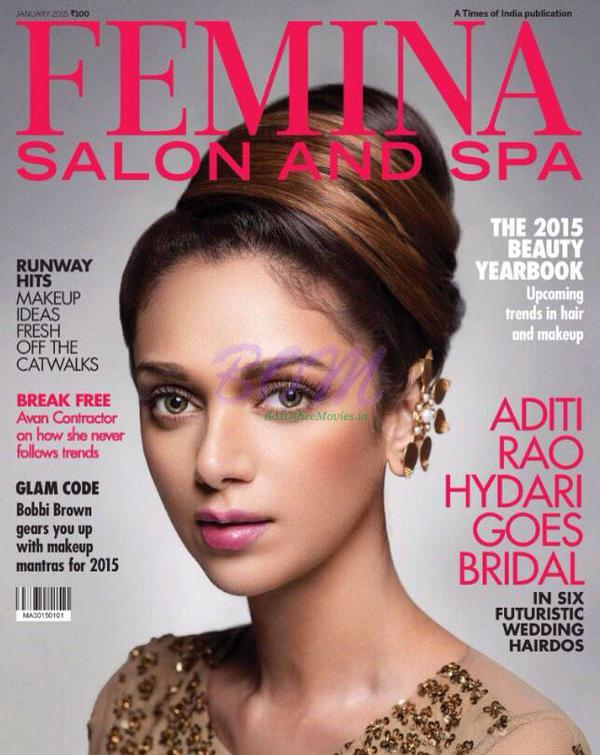 Aditi Rao Hydari ‏on Femina Salon and Spa Magazine cover page for Jan 2015 issue