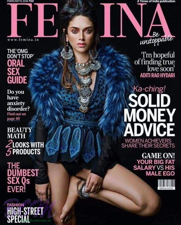Aditi Rao Hydari cover page girl for FEMINA February 2016 Magazine