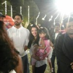Aishwarya, Abhishek, Aaradhya, and Sanjay Gupta at Dalai's birthday party
