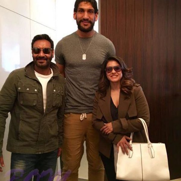 Ajay Devgn and Kajol with famous basketball player Satnam Singh Bhamara