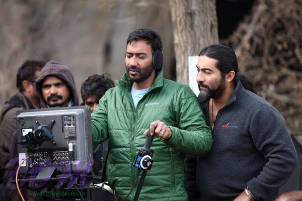 Ajay Devgn checks out the monitor while filming Shivaay in Bulgaria