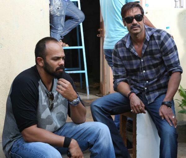 Ajay Devgn with Rohit Shetty - shooting for Singham Returns