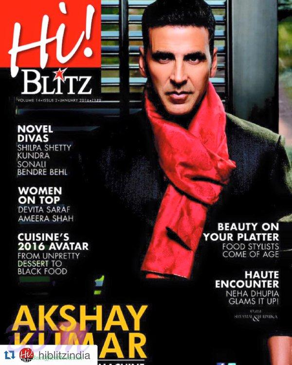 Akshay Kumar cover page boy for Hi Blitz magazine January 2016 issue