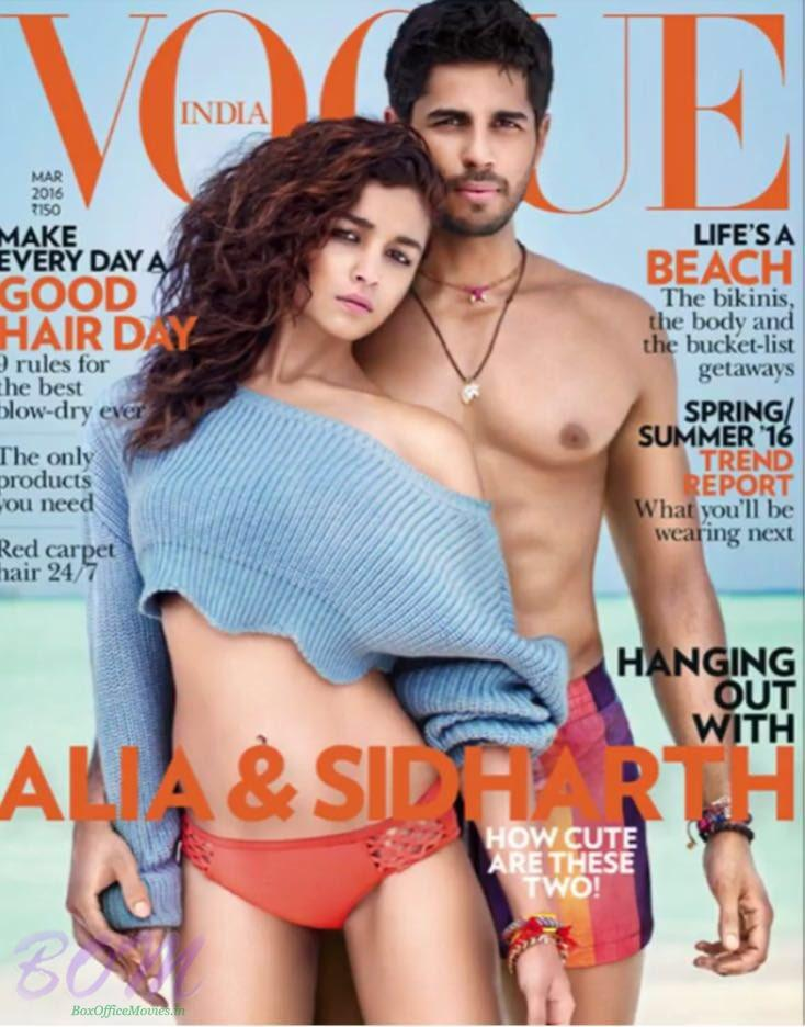 Alia Bhatt and Sidharth Malhotra for Cover Page of Vogue Magazine Mar 2016