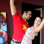 Ameesha Patel learning western dance steps from Sandip Soparrkar