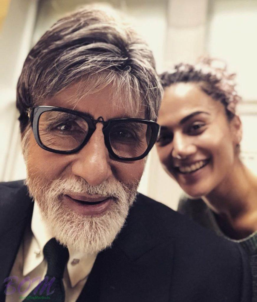 Amitabh Bachchan and Taapsee Pannu selfie while shooting for Badla movie