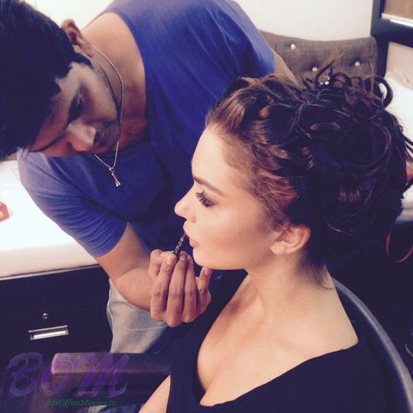 Amy Jackson getting her style done for a sequence in Singh is Bling