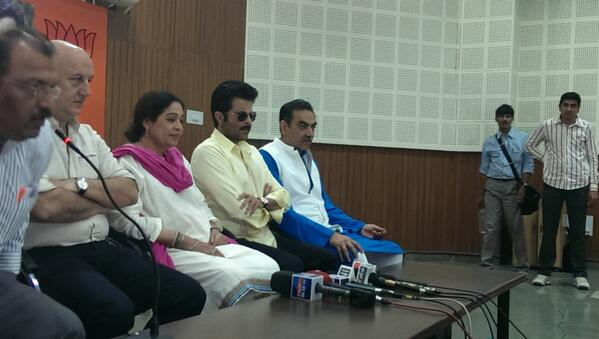 Anil Kapoor, Kirron Kher and AnupamPkher at a press conference at Punjab BJP Office, sector 37.