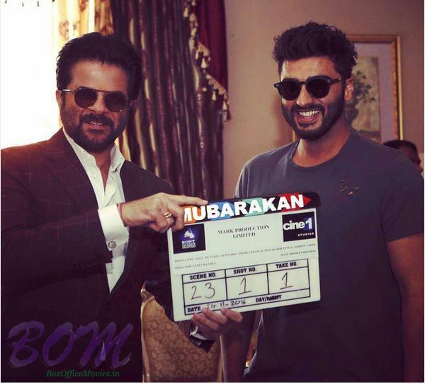 Anil Kapoor and Arjun Kapoor with the clipper of Mubarakan movie