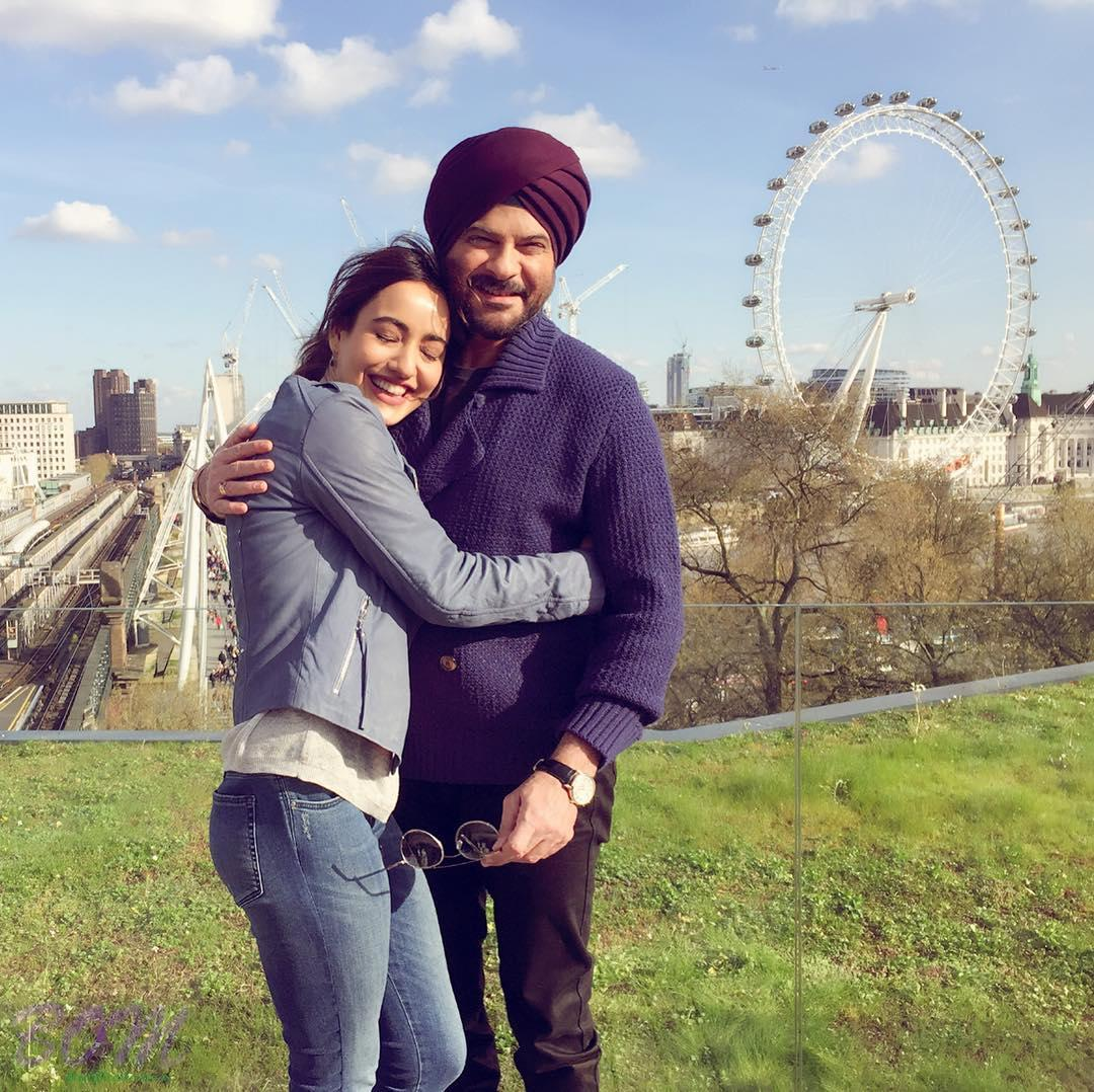 Anil Kapoor with Neha Sharma while shooting for Mubarakan