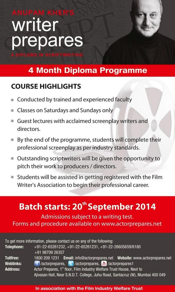 Anupam Kher's 4 Months Diploma Writers Prepare Course highlights