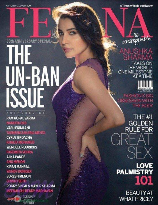 Anushkha Sharma cover page girl for FEEMINA Oct 2015 issue