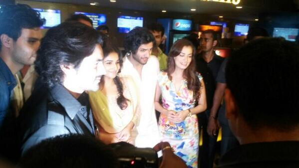 Arjans Bajwa, Vidya Balan, Ali Fazal and Diya Mirza speak at the Bobby Jasoos trailer launch