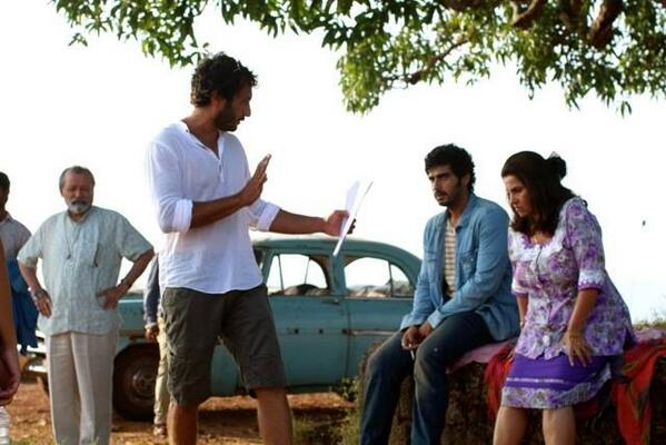 Arjun Kapoor and Dimple Kapadia getting directions from Homi Adajania  while shooting for FindingFanny.