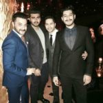 Arjun Kapoor with uncle Sanjay Kapoor and friend Varun Dhawan on Christmas 2016