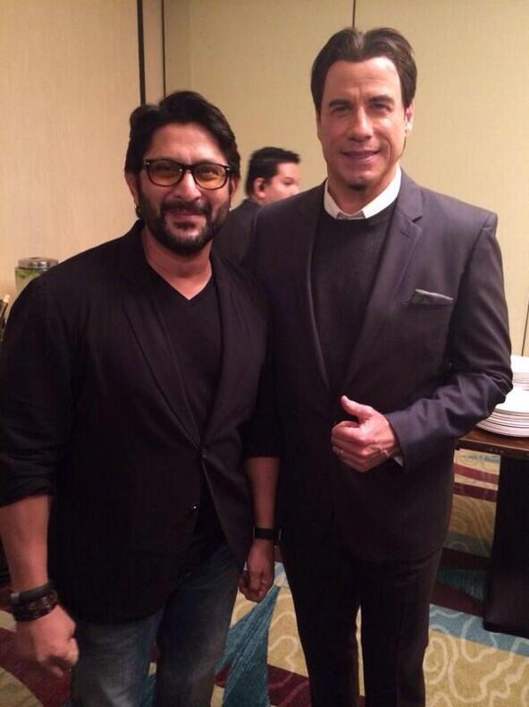 Arshad Warsi and Hollywood star John Travolta at the IIFA awards