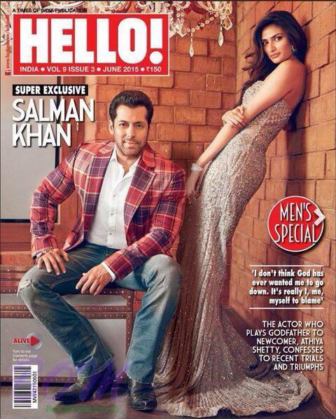 Athiya Shetty with Salman Khan on the cover page of Hello Magazine June 2015 issue