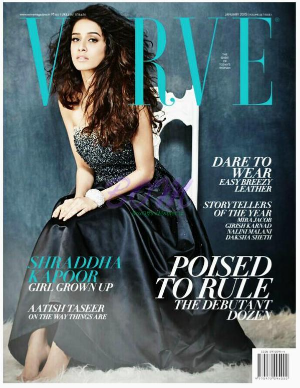 Beautiful Shraddha Kapoor on the cover page of Verve Magazine January 2015 Issue