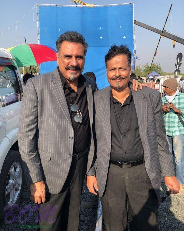 Boman Irani with his body double from the sets of Total Dhamaal