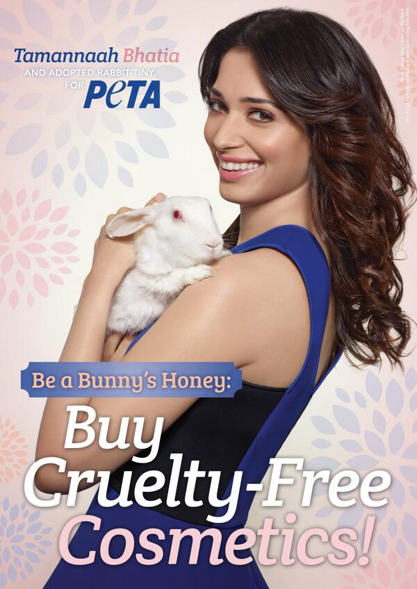 Bunny's honey Tamannaah Bhatia says no to animal tested cosmetics. Ad shot by Colston Julian. She adopted Rabbit Tiny for Peta.