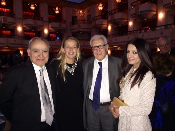 Celina Jaitly At Crisis Group award dinner for Hillary Clinton with Mabelvan Oranje & UN & Special Envoy to Syria Lakhdar Brahimi