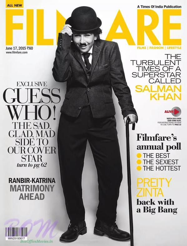 Charlie Chaplin Vidya Balan as cover girl for Filmfare 17 June 2015 Issue