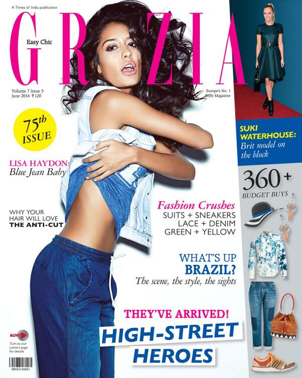 Cover Girl Lisa Haydon at Grazia India magazine page - Issue June 2014