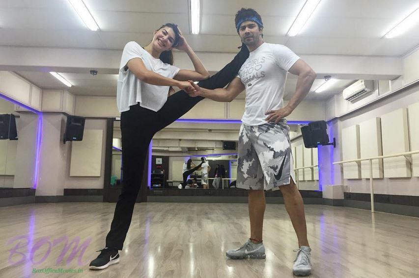Jacqueline Fernandez with Varun Dhawan for Judwaa 2 practice session