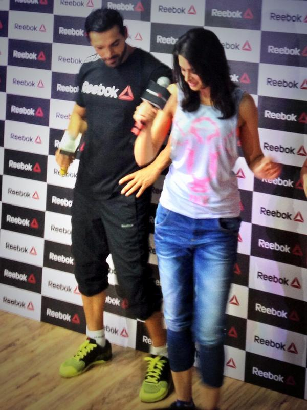 Dashing John Abraham with hot Nargis Fakhri at a Reebok event held recently