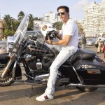 Dashing actor Jimmy Sheirgill during a bike rally to promote his film Fugly at Worli in Mumbai