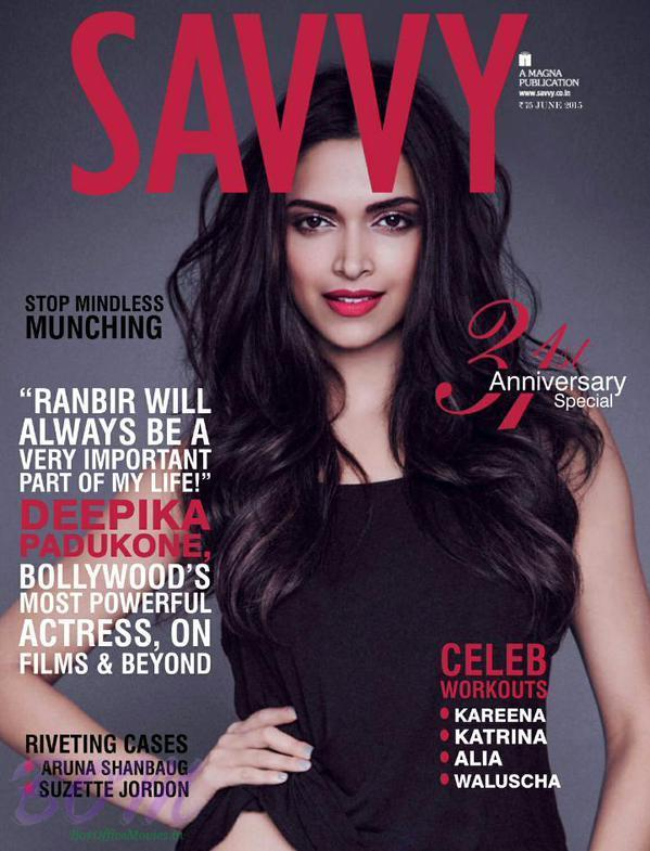 Deepika Padukone on the cover page of Savvy Magazine June 2015 Issue