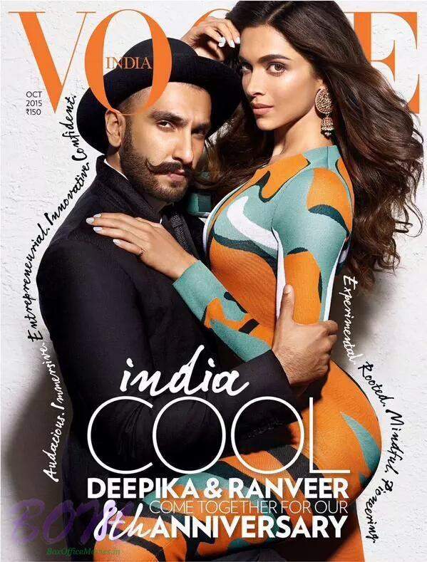 Deepika and Ranveer on cover page of 8 anniversary of Vogue India Magazine