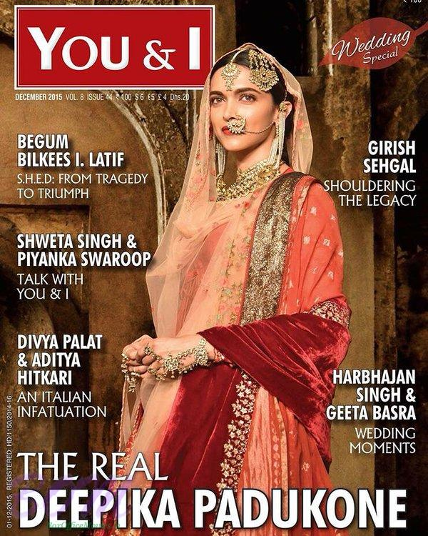 Deepika Padukone cover girl for YOU & I Magazine December 2015 issue