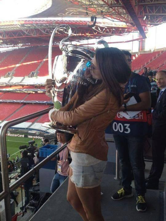 Deepika with the UEFA Champion's League trophy in Lisbon, Portugal