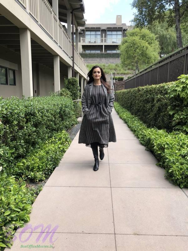 Dia Mirza at Steve Jobs theater when speaking about climate change on 27 Apr 2018