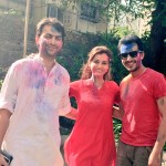 Dia Mirza celebrating Holi 2015. It's her first Holi after marriage recently.