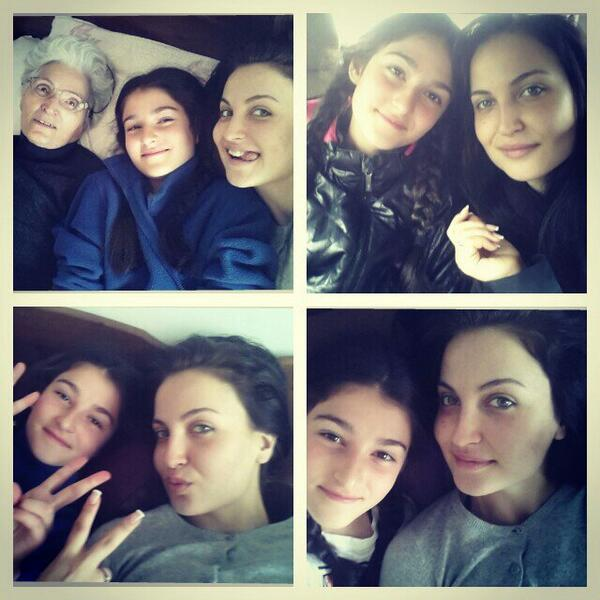 Elli Avram 'The three ladies ;) Having a good time chilling with my lill cousin and grandmom'