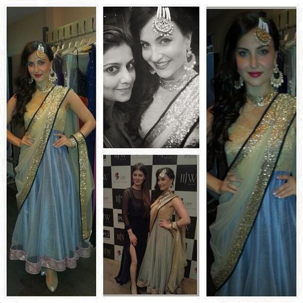 Elli Avram picture from IIJW Grand Finale. Dressed by Designer Salima Lalani & jewellery from Curio Cottage