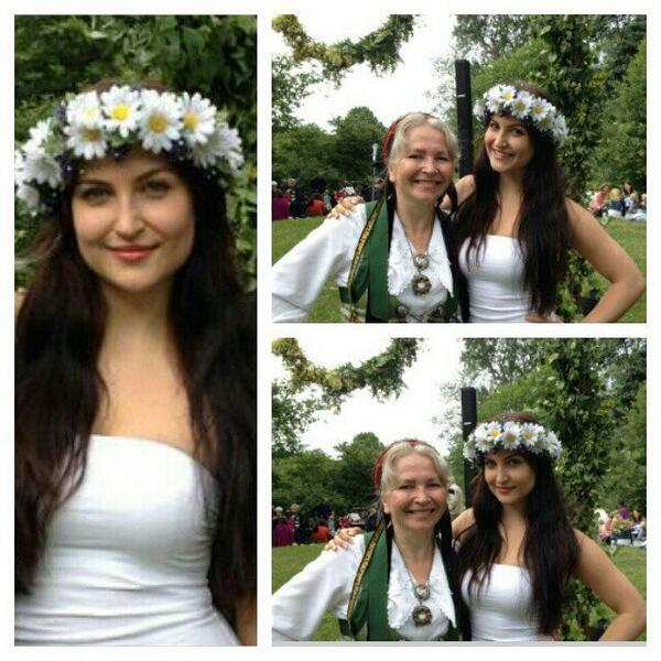 Elli Avram wishes Happy Swedish Midsummer. The celebration where we tie flowers in the hair and dance & sing around the Midsummer tree.