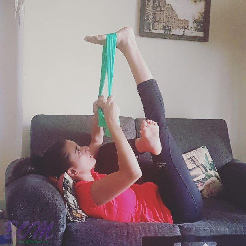 Evelyn Sharma morning workout with a prop